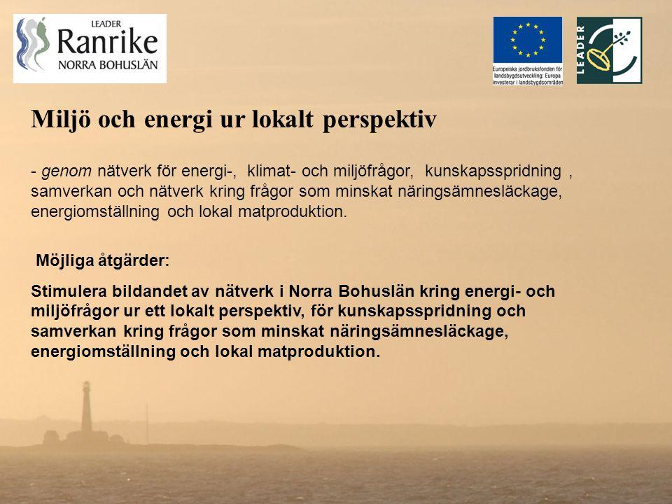 - genom nätverk för energi-, klimat- och miljöfrågor, kunskapsspridning, samverkan och nätverk kring frågor som minskat näringsämnesläckage, energiomställning och lokal matproduktion.