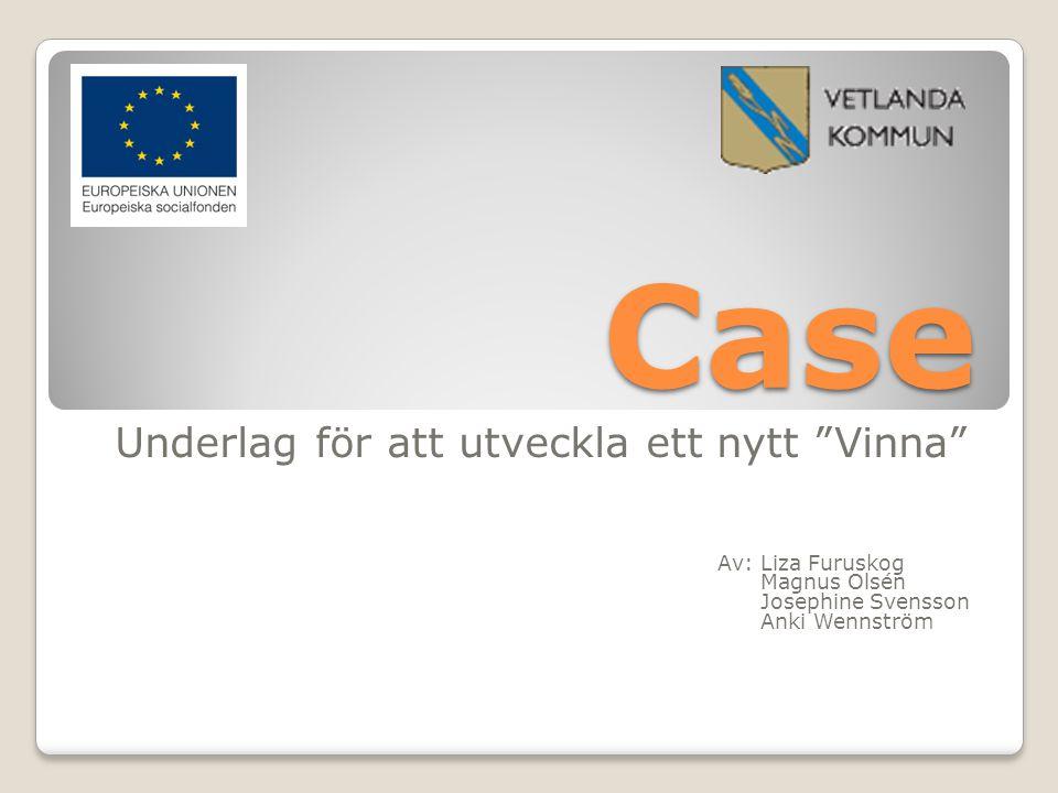 """Case Underlag för att utveckla ett nytt """"Vinna"""" Av: Liza Furuskog Magnus Olsén Josephine Svensson Anki Wennström"""