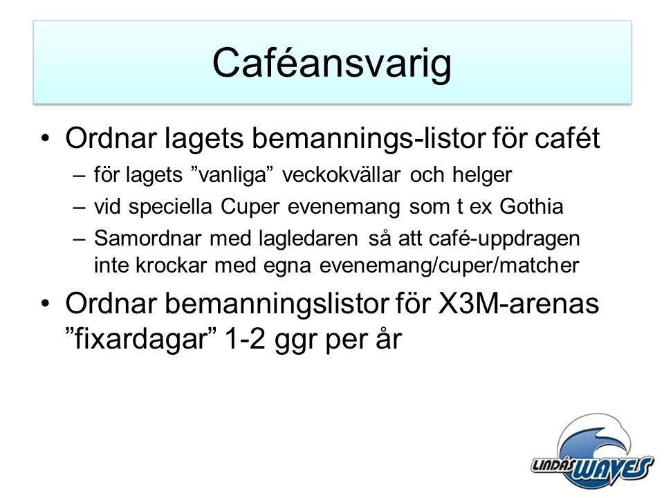 """Caféansvarig •Ordnar lagets bemannings-listor för cafét –för lagets """"vanliga"""" veckokvällar och helger –vid speciella Cuper evenemang som t ex Gothia –"""