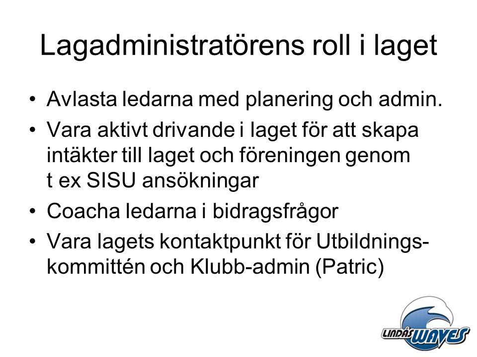 Lagadministratörens roll i laget •Avlasta ledarna med planering och admin. •Vara aktivt drivande i laget för att skapa intäkter till laget och förenin