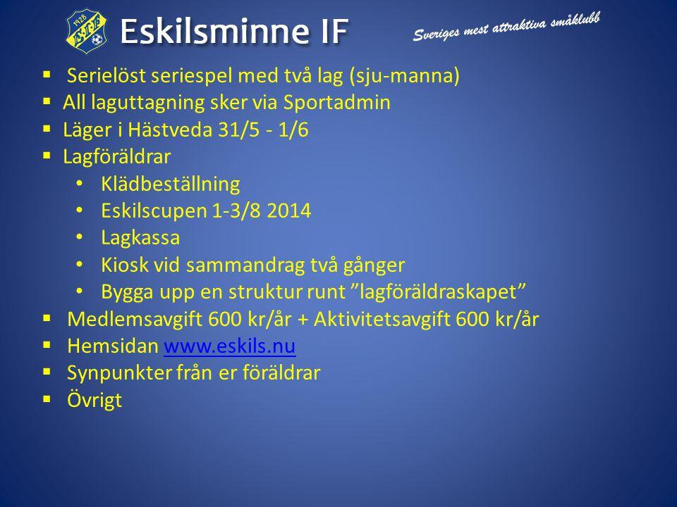  Serielöst seriespel med två lag (sju-manna)  All laguttagning sker via Sportadmin  Läger i Hästveda 31/5 - 1/6  Lagföräldrar • Klädbeställning • Eskilscupen 1-3/8 2014 • Lagkassa • Kiosk vid sammandrag två gånger • Bygga upp en struktur runt lagföräldraskapet  Medlemsavgift 600 kr/år + Aktivitetsavgift 600 kr/år  Hemsidan www.eskils.nuwww.eskils.nu  Synpunkter från er föräldrar  Övrigt