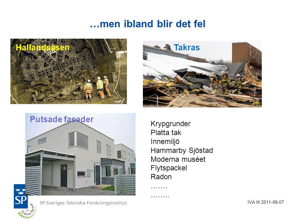…men ibland blir det fel IVA III 2011-09-07 HallandsåsenTakras Putsade fasader Krypgrunder Platta tak Innemiljö Hammarby Sjöstad Moderna muséet Flytspackel Radon …….