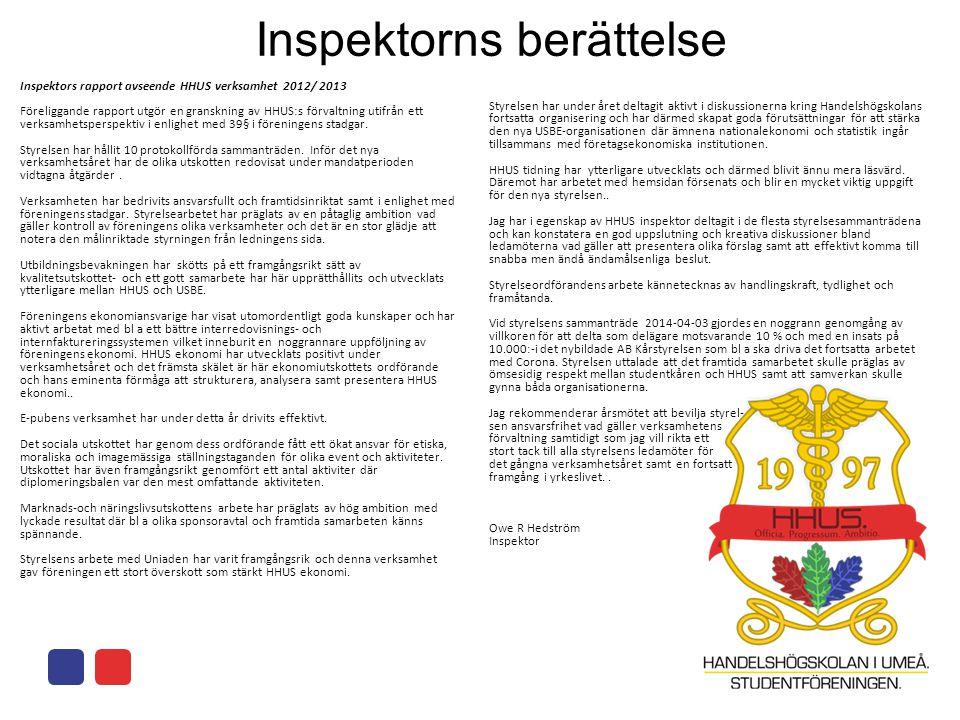 Inspektorns berättelse Inspektors rapport avseende HHUS verksamhet 2012/ 2013 Föreliggande rapport utgör en granskning av HHUS:s förvaltning utifrån ett verksamhetsperspektiv i enlighet med 39§ i föreningens stadgar.