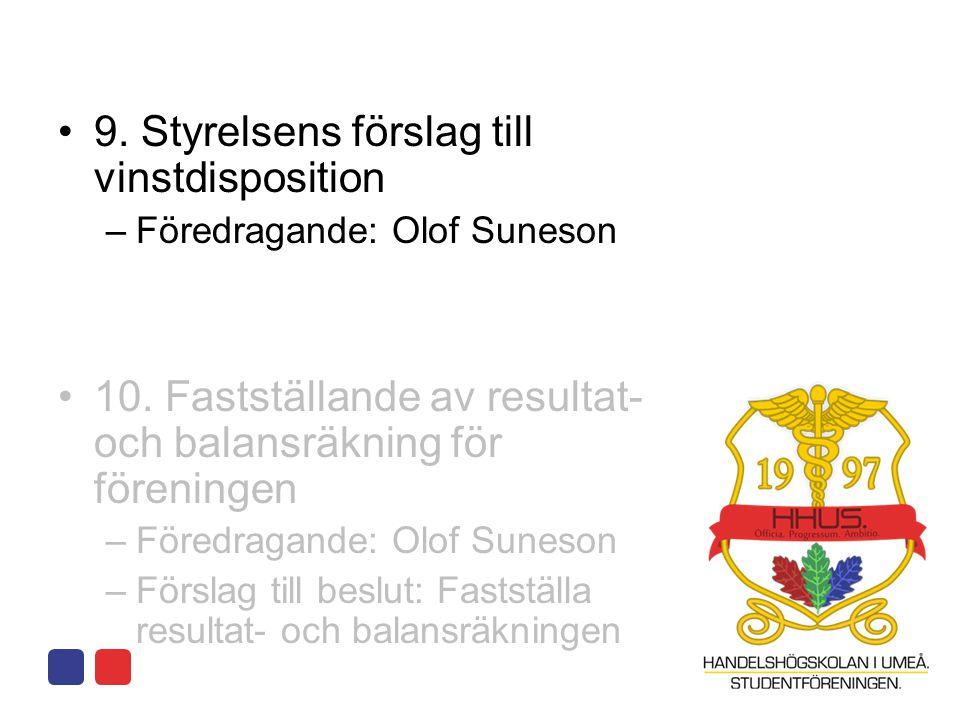 •9. Styrelsens förslag till vinstdisposition –Föredragande: Olof Suneson •10. Fastställande av resultat- och balansräkning för föreningen –Föredragand