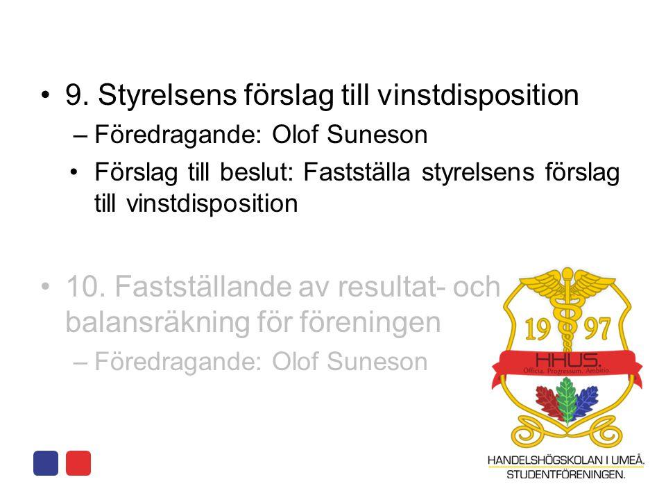 •9. Styrelsens förslag till vinstdisposition –Föredragande: Olof Suneson •Förslag till beslut: Fastställa styrelsens förslag till vinstdisposition •10