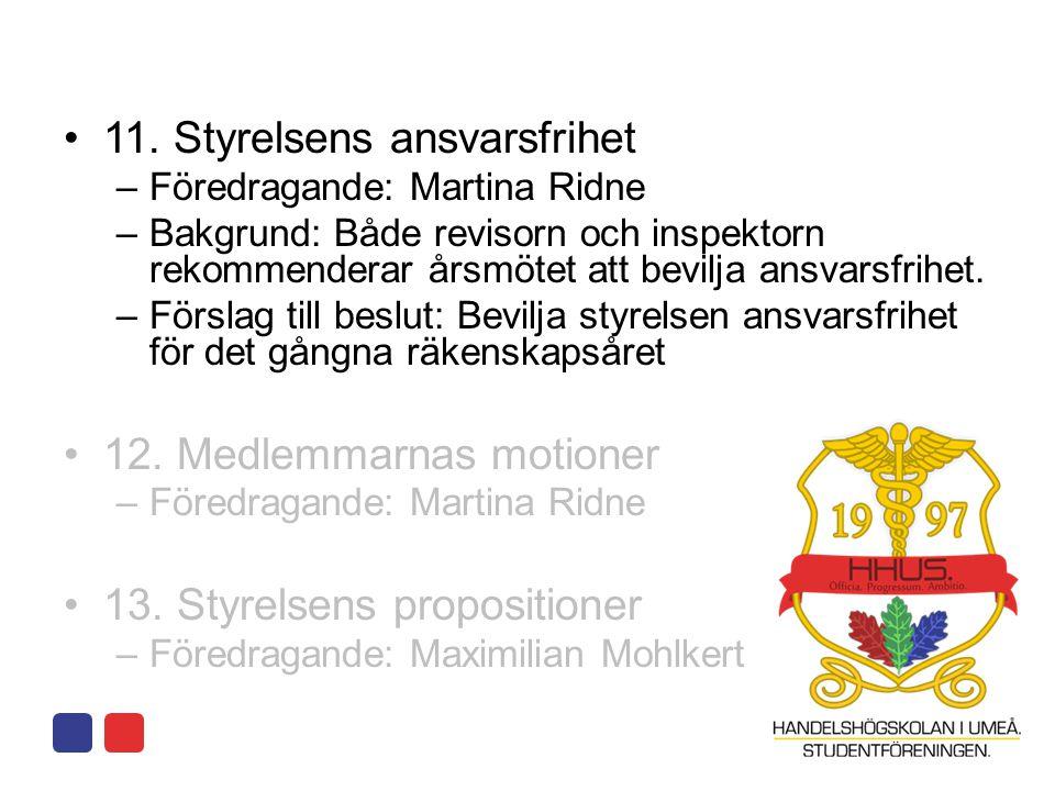 •11. Styrelsens ansvarsfrihet –Föredragande: Martina Ridne –Bakgrund: Både revisorn och inspektorn rekommenderar årsmötet att bevilja ansvarsfrihet. –