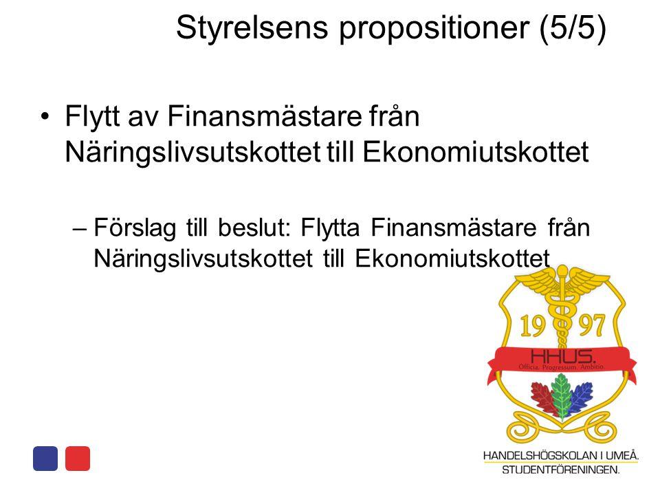 •Flytt av Finansmästare från Näringslivsutskottet till Ekonomiutskottet –Förslag till beslut: Flytta Finansmästare från Näringslivsutskottet till Ekonomiutskottet Styrelsens propositioner (5/5)