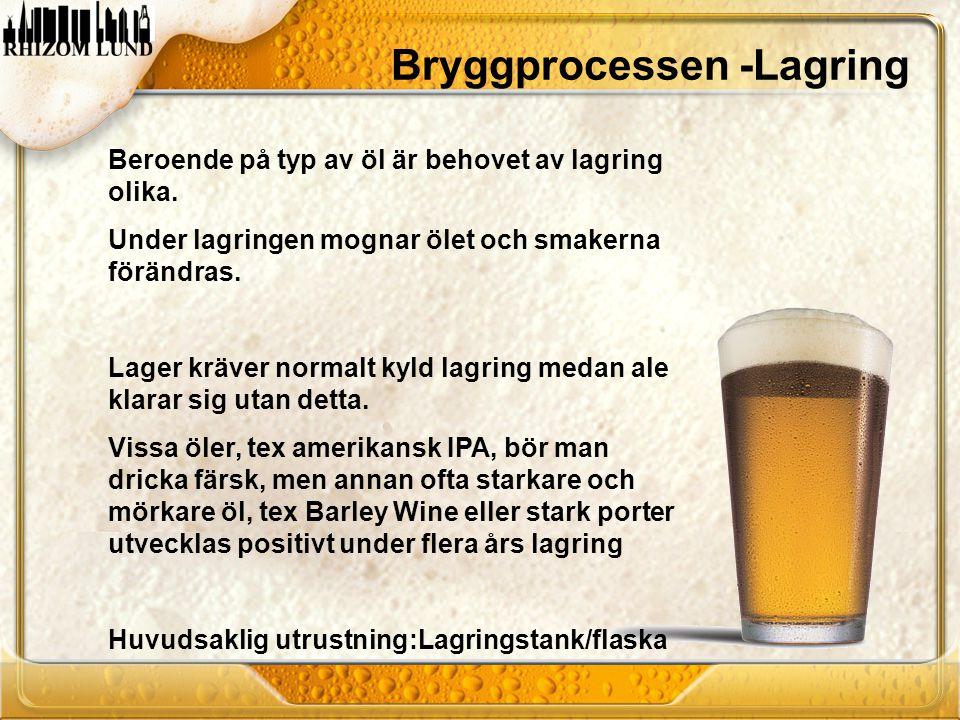 Beroende på typ av öl är behovet av lagring olika. Under lagringen mognar ölet och smakerna förändras. Lager kräver normalt kyld lagring medan ale kla