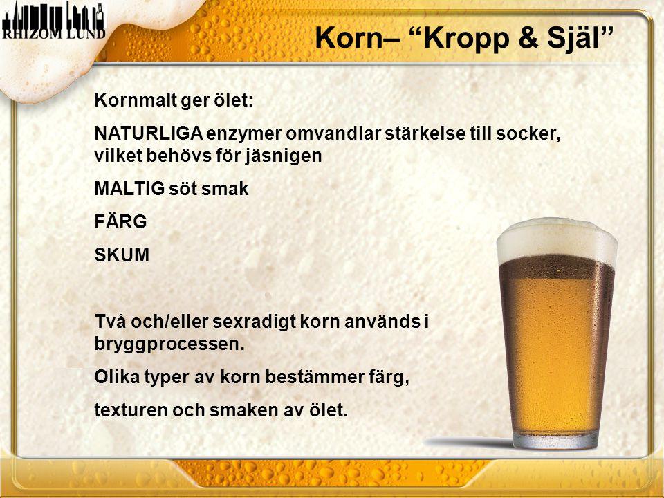 """Korn– """"Kropp & Själ"""" Kornmalt ger ölet: NATURLIGA enzymer omvandlar stärkelse till socker, vilket behövs för jäsnigen MALTIG söt smak FÄRG SKUM Två oc"""