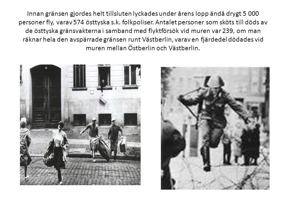 Innan gränsen gjordes helt tillsluten lyckades under årens lopp ändå drygt 5 000 personer fly, varav 574 östtyska s.k. folkpoliser. Antalet personer s