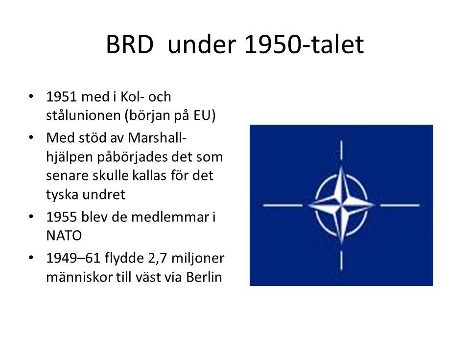 BRD under 1950-talet • 1951 med i Kol- och stålunionen (början på EU) • Med stöd av Marshall- hjälpen påbörjades det som senare skulle kallas för det