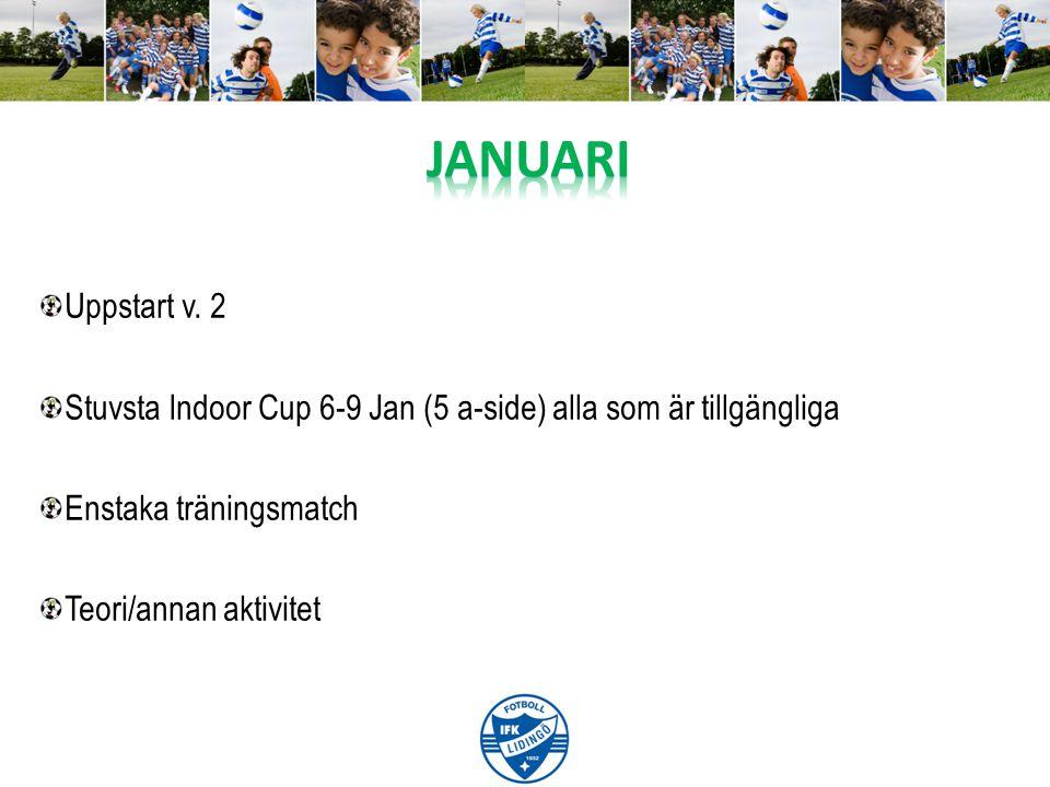 Uppstart v. 2 Stuvsta Indoor Cup 6-9 Jan (5 a-side) alla som är tillgängliga Enstaka träningsmatch Teori/annan aktivitet