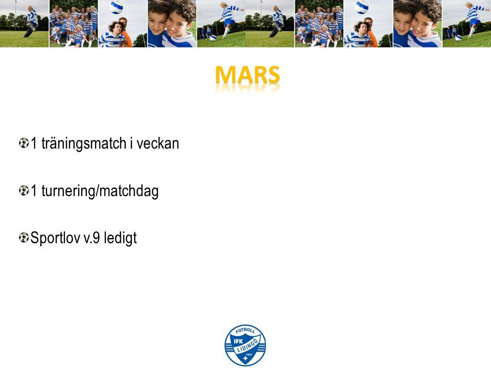 1 träningsmatch i veckan 1 turnering/matchdag Sportlov v.9 ledigt