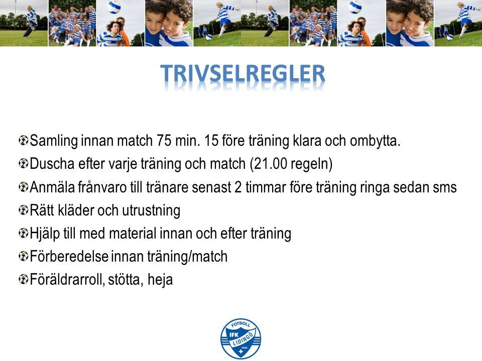 Samling innan match 75 min. 15 före träning klara och ombytta. Duscha efter varje träning och match (21.00 regeln) Anmäla frånvaro till tränare senast