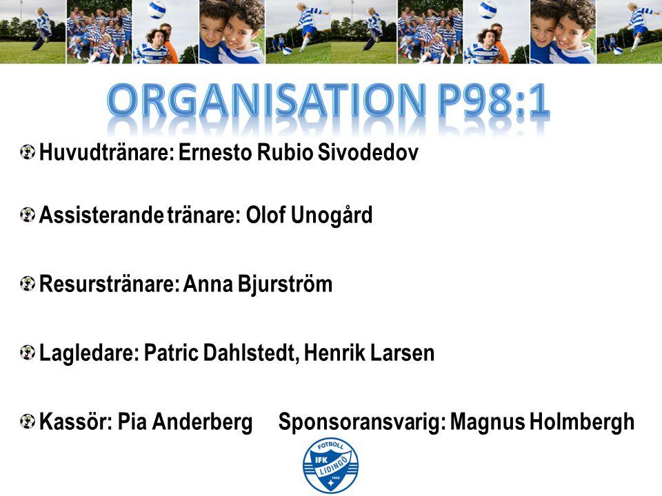 Huvudtränare: Ernesto Rubio Sivodedov Assisterande tränare: Olof Unogård Resurstränare: Anna Bjurström Lagledare: Patric Dahlstedt, Henrik Larsen Kass