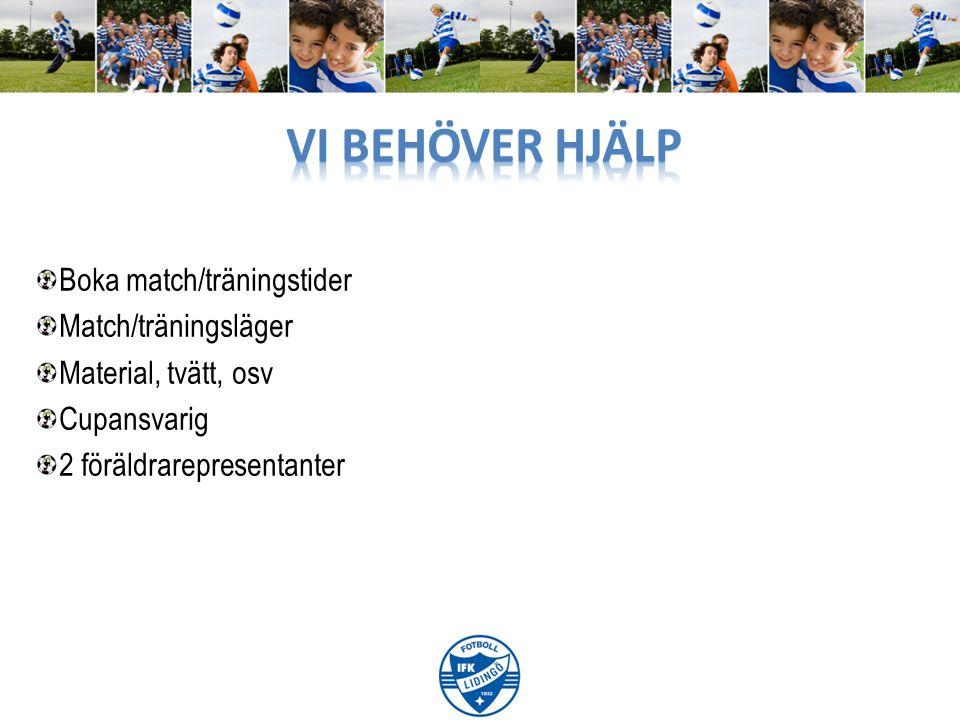 Boka match/träningstider Match/träningsläger Material, tvätt, osv Cupansvarig 2 föräldrarepresentanter