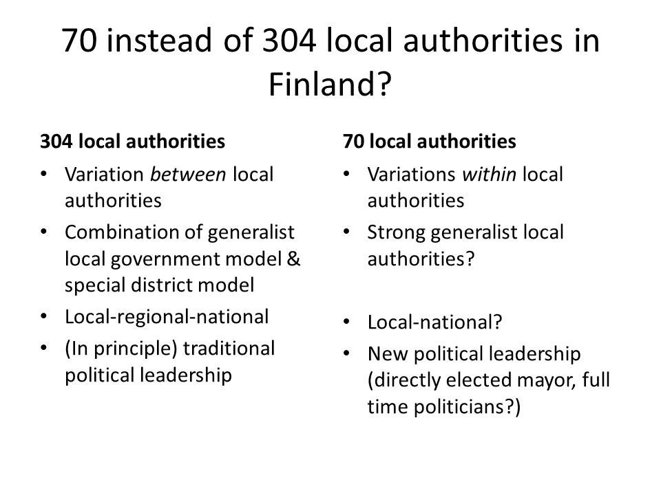 70 instead of 304 local authorities in Finland.