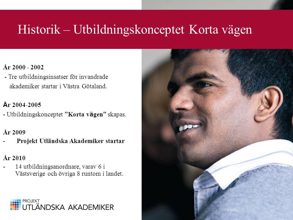 Historik – Utbildningskonceptet Korta vägen FOTO: År 2000 - 2002 - Tre utbildningsinsatser för invandrade akademiker startar i Västra Götaland.