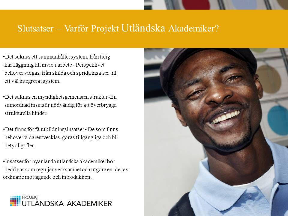 Slutsatser – Varför Projekt Utländska Akademiker.
