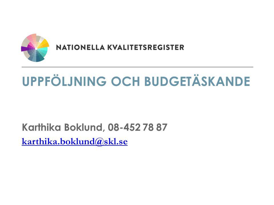 UPPFÖLJNING OCH BUDGETÄSKANDE Karthika Boklund, 08-452 78 87 karthika.boklund@skl.se