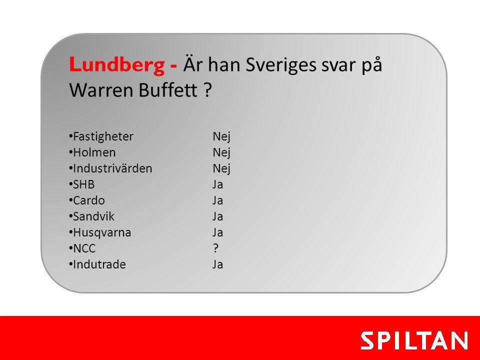 Lundberg - Är han Sveriges svar på Warren Buffett ? • FastigheterNej • HolmenNej • IndustrivärdenNej • SHBJa • CardoJa • SandvikJa • HusqvarnaJa • NCC