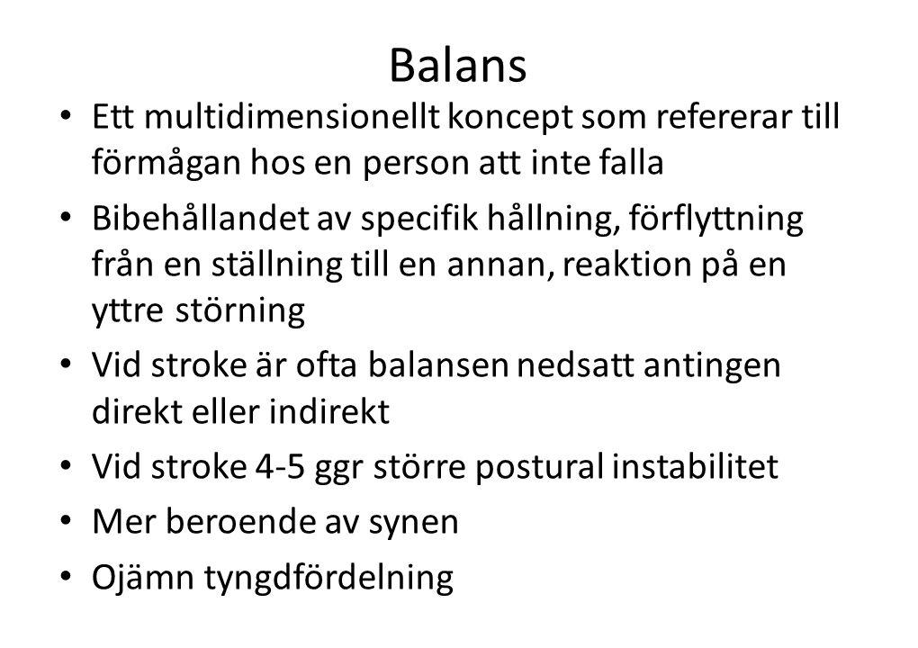 Balans • Ett multidimensionellt koncept som refererar till förmågan hos en person att inte falla • Bibehållandet av specifik hållning, förflyttning fr