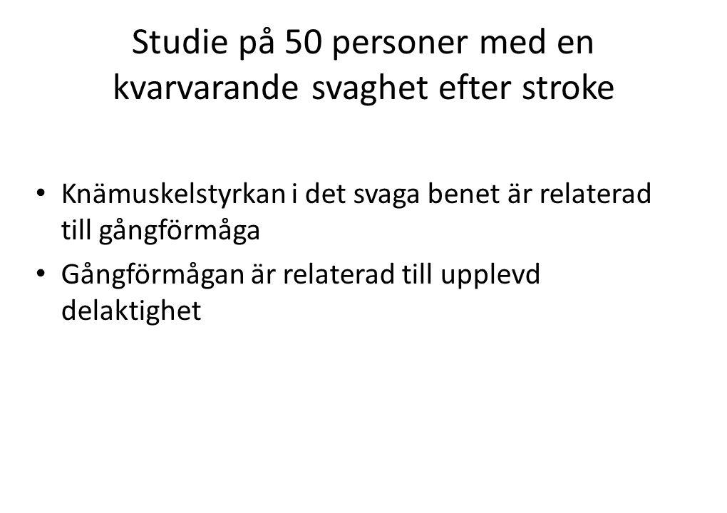 Studie på 24 personer med minst 6 mån sedan strokeinsjuknandet • En styrketräningsgrupp • En kontrollgrupp-ej styrketräning, men ok med annan träning • Styrketräning 2 ggr/vecka i 10 veckor • Belastning ca 80 % av maximal styrka • 6-8 repetitioner i 2 set