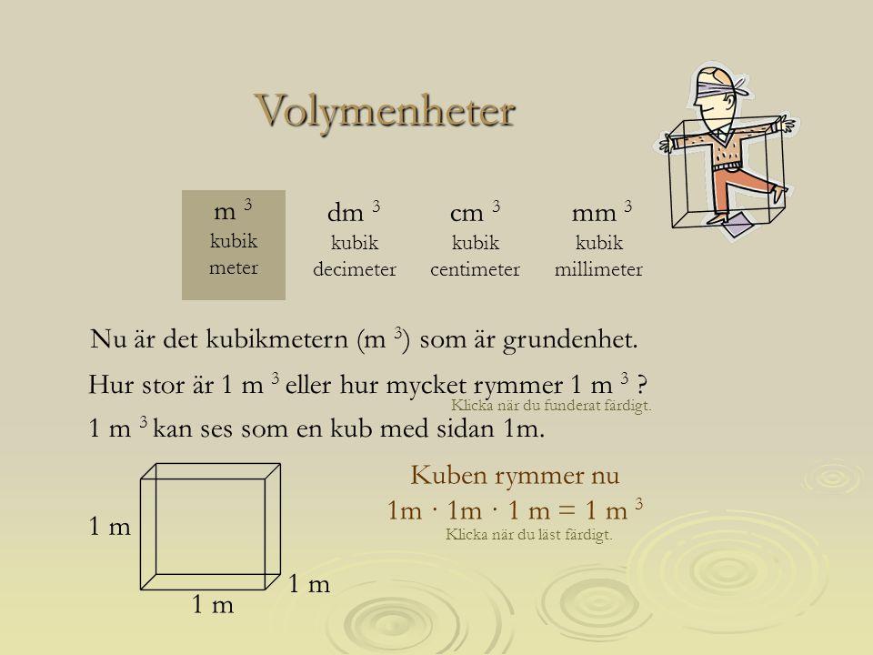Kuben rymmer nu 1mm · 1mm · 1 mm = 1 mm 3 Klicka när du läst färdigt.