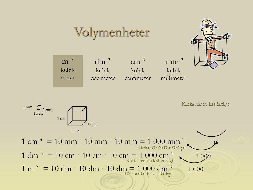 Klicka när du läst färdigt. Volymenheter 1 mm 1 cm mm 3 kubik millimeter m 3 kubik meter cm 3 kubik centimeter dm 3 kubik decimeter 1 cm 3 = 10 mm · 1