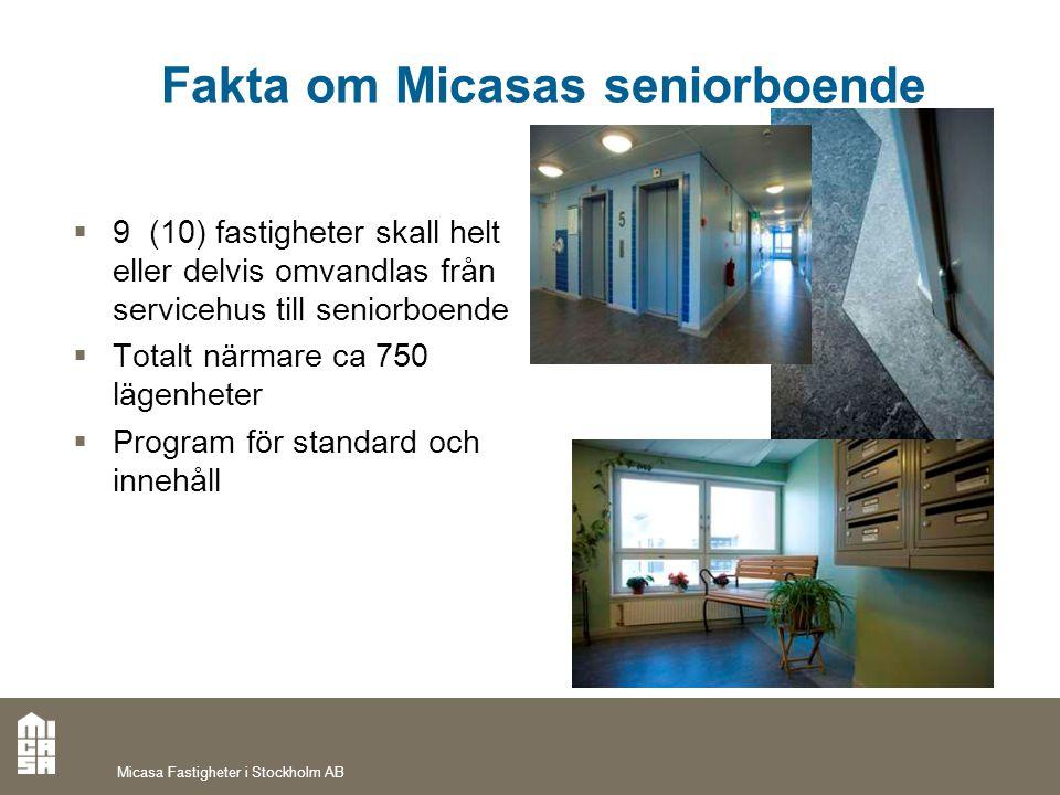 Fakta om Micasas seniorboende  9 (10) fastigheter skall helt eller delvis omvandlas från servicehus till seniorboende  Totalt närmare ca 750 lägenhe