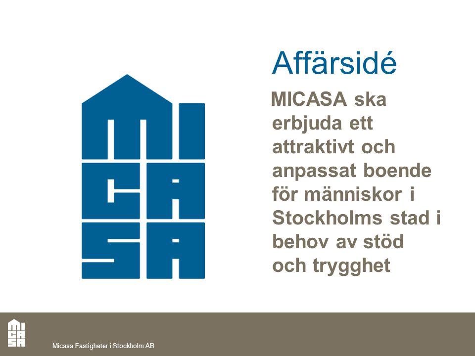 Micasa Fastigheter i Stockholm AB Affärsidé MICASA ska erbjuda ett attraktivt och anpassat boende för människor i Stockholms stad i behov av stöd och