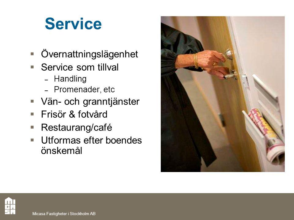 Service  Övernattningslägenhet  Service som tillval – Handling – Promenader, etc  Vän- och granntjänster  Frisör & fotvård  Restaurang/café  Utf