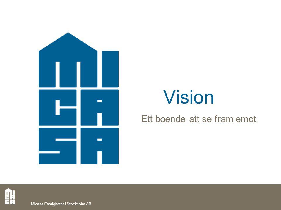 Micasa Fastigheter i Stockholm AB Vision Ett boende att se fram emot