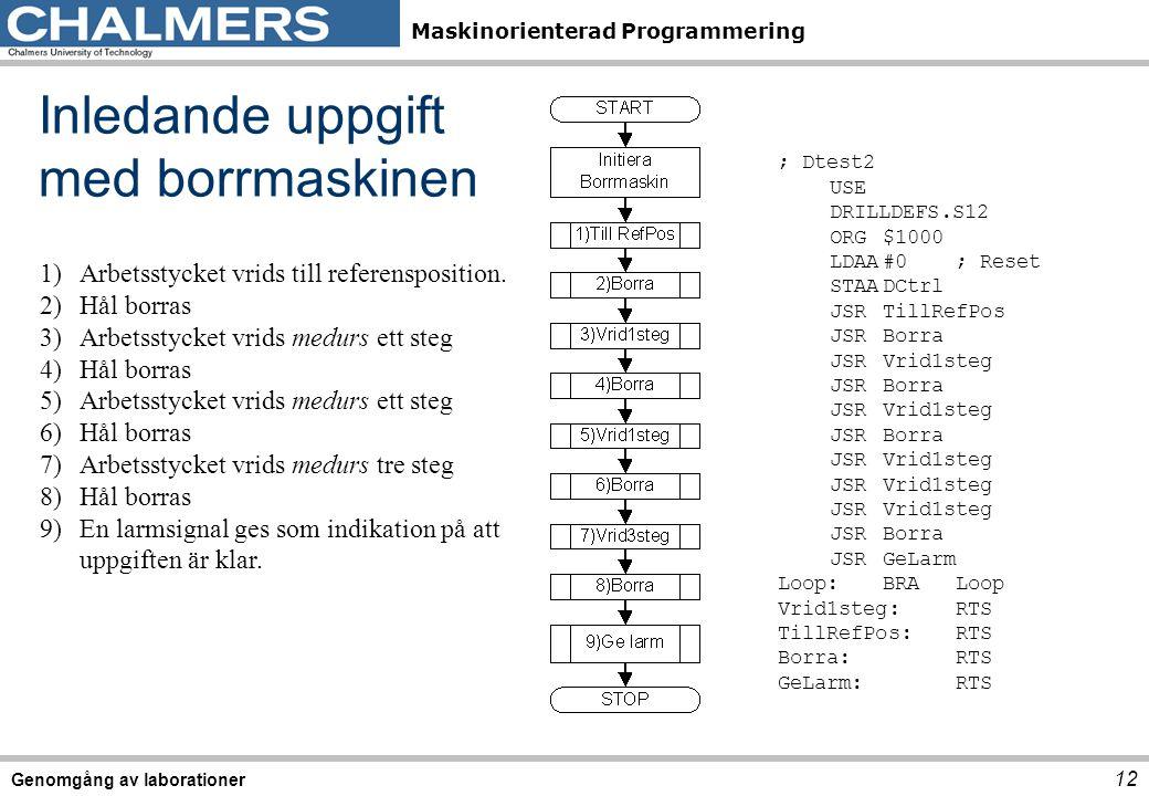 Maskinorienterad Programmering Genomgång av laborationer 12 Inledande uppgift med borrmaskinen 1)Arbetsstycket vrids till referensposition. 2)Hål borr