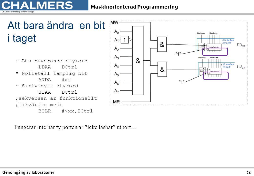 Maskinorienterad Programmering Genomgång av laborationer 16 Att bara ändra en bit i taget * Läs nuvarande styrord LDAADCtrl * Nollställ lämplig bit AN