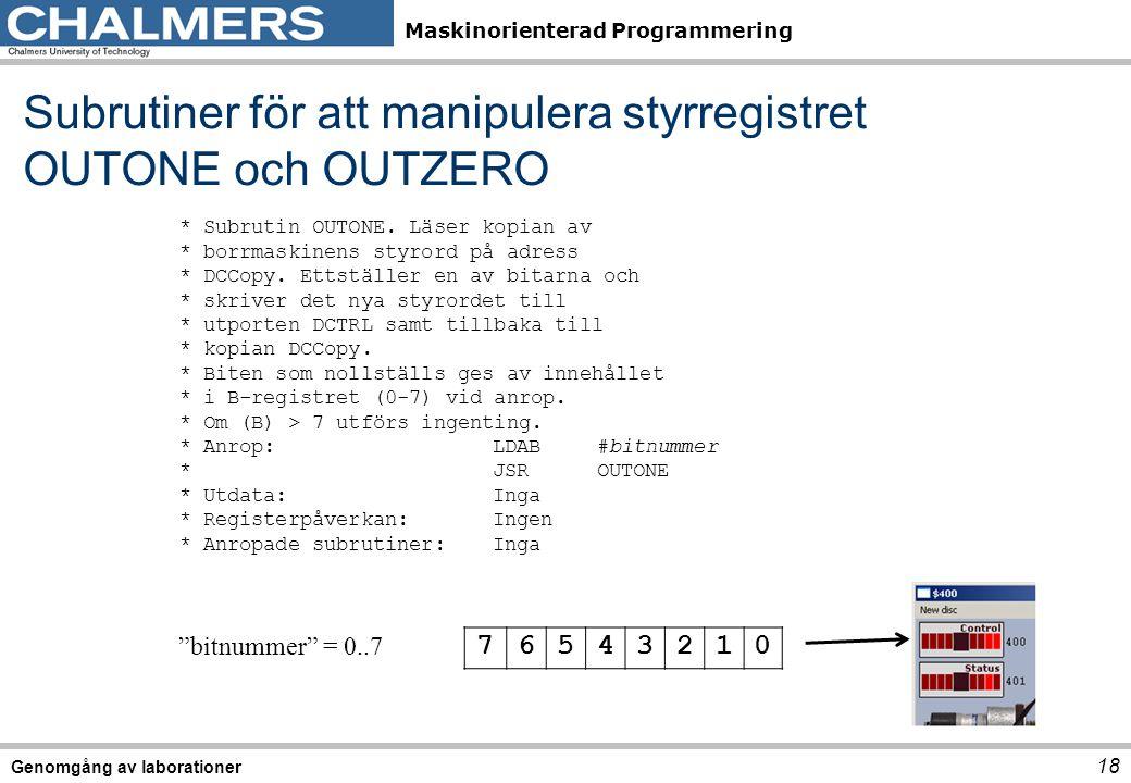 Maskinorienterad Programmering Subrutiner för att manipulera styrregistret OUTONE och OUTZERO 18 Genomgång av laborationer 76543210 * Subrutin OUTONE.