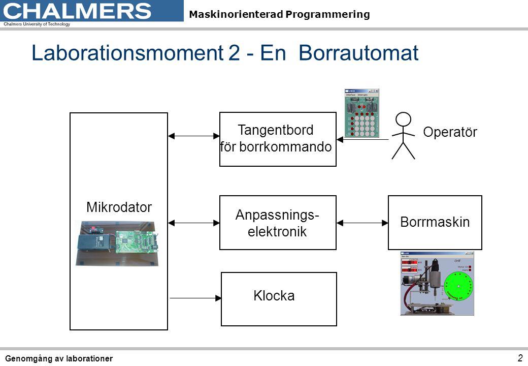 Maskinorienterad Programmering 2 Genomgång av laborationer Laborationsmoment 2 - En Borrautomat Tangentbord för borrkommando Anpassnings- elektronik Borrmaskin Mikrodator Operatör Klocka