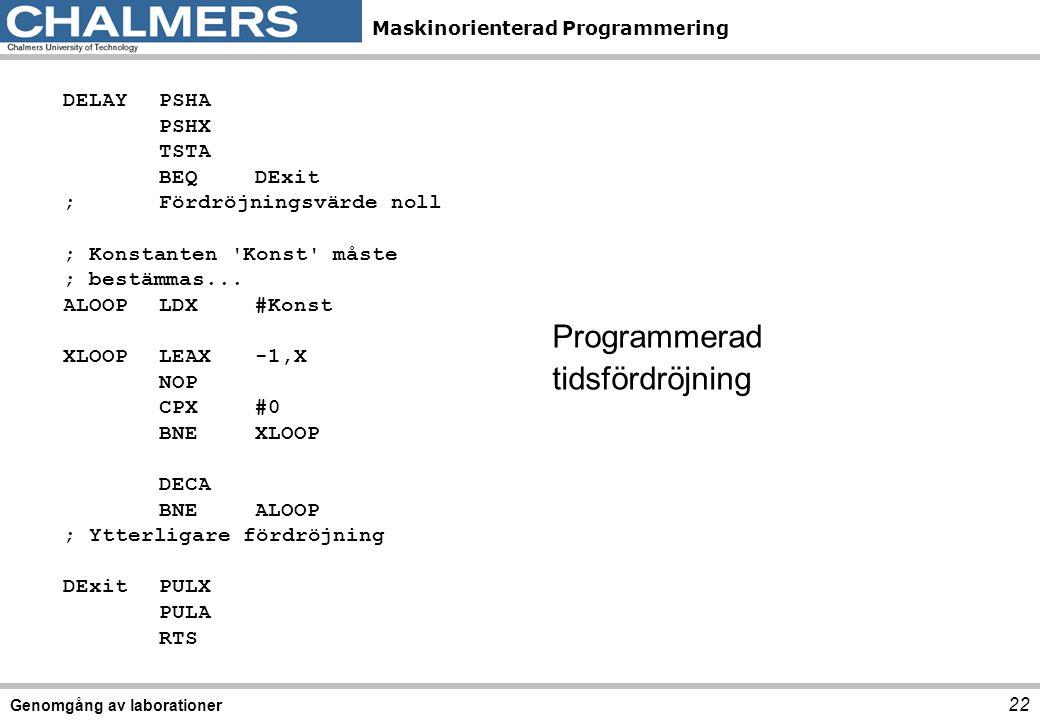 Maskinorienterad Programmering Genomgång av laborationer 22 DELAYPSHA PSHX TSTA BEQDExit ;Fördröjningsvärde noll ; Konstanten 'Konst' måste ; bestämma