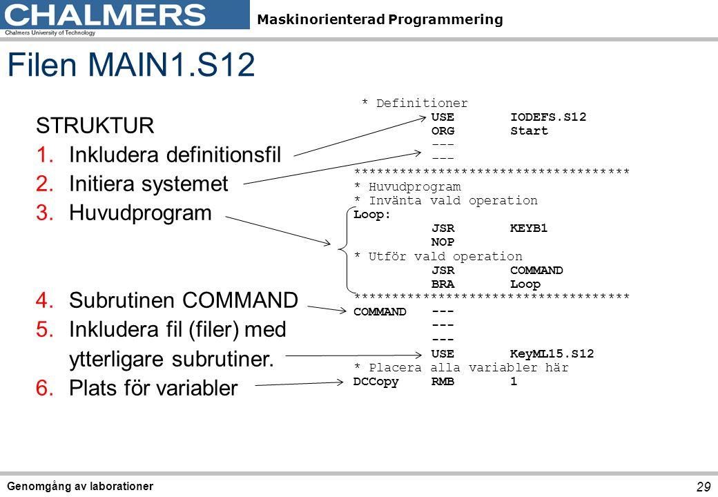 Maskinorienterad Programmering Genomgång av laborationer 29 Filen MAIN1.S12 STRUKTUR 1.Inkludera definitionsfil 2.Initiera systemet 3.Huvudprogram 4.Subrutinen COMMAND 5.Inkludera fil (filer) med ytterligare subrutiner.