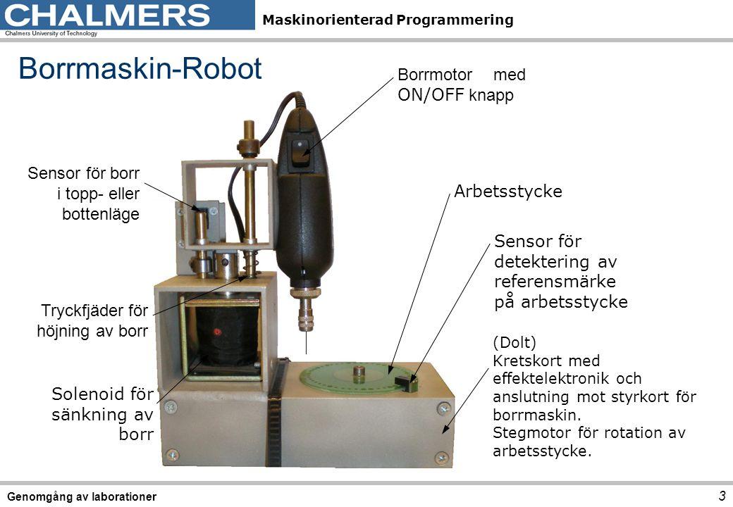 Maskinorienterad Programmering Borrmaskin-Robot Sensor för detektering av referensmärke på arbetsstycke Borrmotor med ON/OFF knapp Arbetsstycke (Dolt) Kretskort med effektelektronik och anslutning mot styrkort för borrmaskin.
