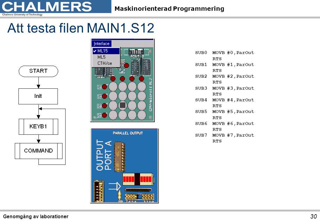 Maskinorienterad Programmering Genomgång av laborationer 30 Att testa filen MAIN1.S12 SUB0MOVB#0,ParOut RTS SUB1MOVB#1,ParOut RTS SUB2 MOVB#2,ParOut RTS SUB3 MOVB#3,ParOut RTS SUB4 MOVB#4,ParOut RTS SUB5 MOVB#5,ParOut RTS SUB6 MOVB#6,ParOut RTS SUB7 MOVB#7,ParOut RTS