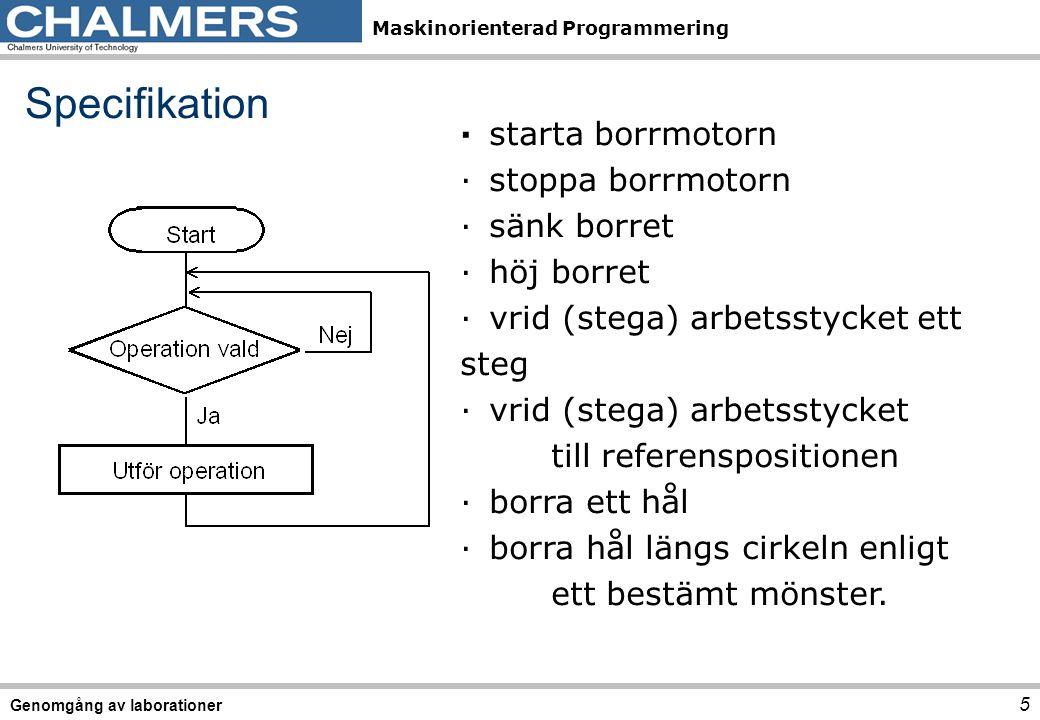 Maskinorienterad Programmering ·starta borrmotorn ·stoppa borrmotorn ·sänk borret ·höj borret ·vrid (stega) arbetsstycket ett steg ·vrid (stega) arbet