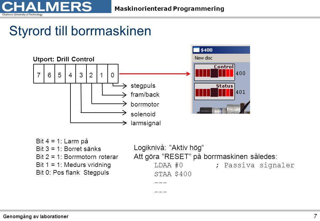 Maskinorienterad Programmering Styrord till borrmaskinen 7 Genomgång av laborationer Utport: Drill Control 0 7 123456 stegpuls borrmotor fram/back solenoid larmsignal Bit 4 = 1: Larm på Bit 3 = 1: Borret sänks Bit 2 = 1: Borrmotorn roterar Bit 1 = 1: Medurs vridning Bit 0: Pos flank Stegpuls Logiknivå: Aktiv hög Att göra RESET på borrmaskinen således: LDAA#0; Passiva signaler STAA$400 ---