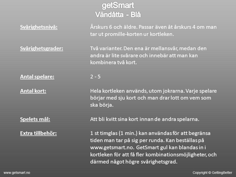 Svårighetsnivå: Svårighetsgrader: Antal spelare: Antal kort: Spelets mål: Extra tillbehör: Årskurs 6 och äldre.