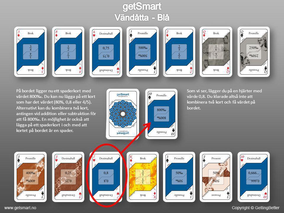 På bordet ligger nu ett spaderkort med värdet 800‰. Du kan nu lägga på ett kort som har det värdet (80%, 0,8 eller 4/5). Alternativt kan du kombinera