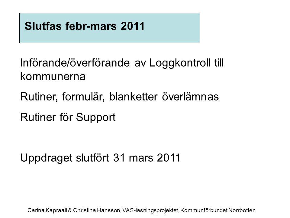 Införande/överförande av Loggkontroll till kommunerna Rutiner, formulär, blanketter överlämnas Rutiner för Support Uppdraget slutfört 31 mars 2011 Slu