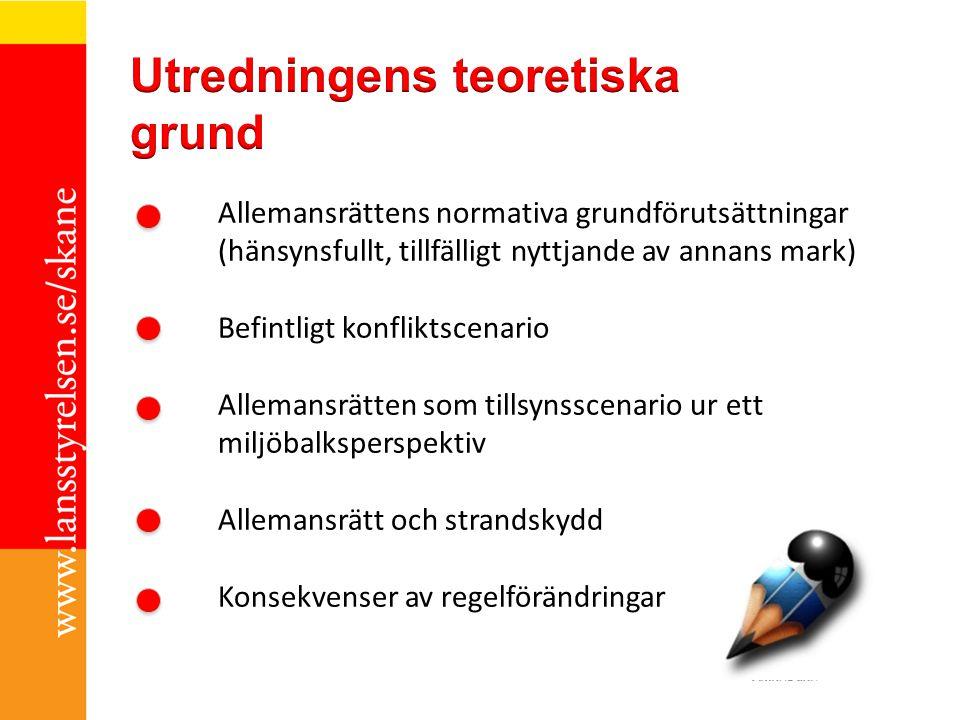 Allemansrättens normativa grundförutsättningar (hänsynsfullt, tillfälligt nyttjande av annans mark) Befintligt konfliktscenario Allemansrätten som til
