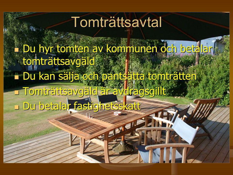 Kostnad Tomträtt  Modell för uträkning ser ut så här: 0,3*MTV*3,5 procents ränta  Där MTV står för MarkTaxeringsVärde  Taxeringsvärdet för 1000 m2 i Torskog är 1 025 000 kr.