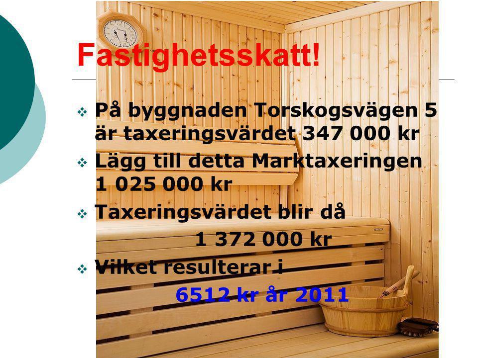 Fastighetsskatt!  På byggnaden Torskogsvägen 5 är taxeringsvärdet 347 000 kr  Lägg till detta Marktaxeringen 1 025 000 kr  Taxeringsvärdet blir då