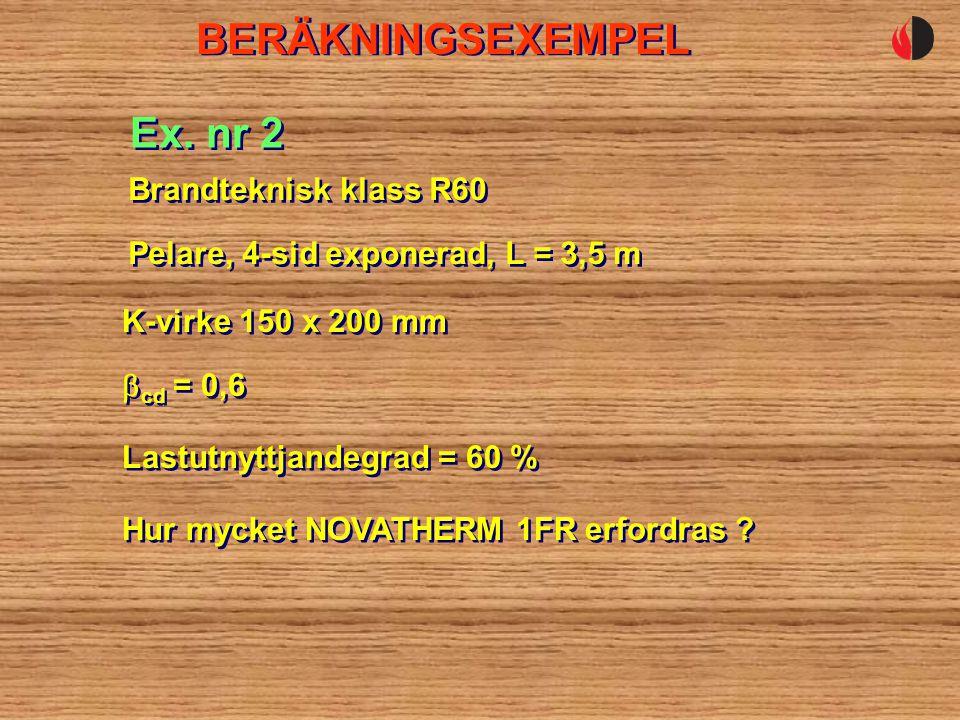 BERÄKNINGSEXEMPEL Pelare, 4-sid exponerad, L = 3,5 m Ex.